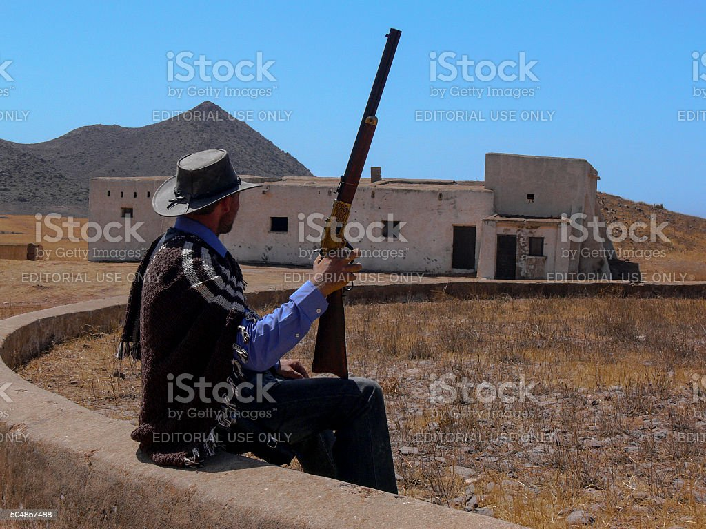 Clint Eastwood impersonator. stock photo