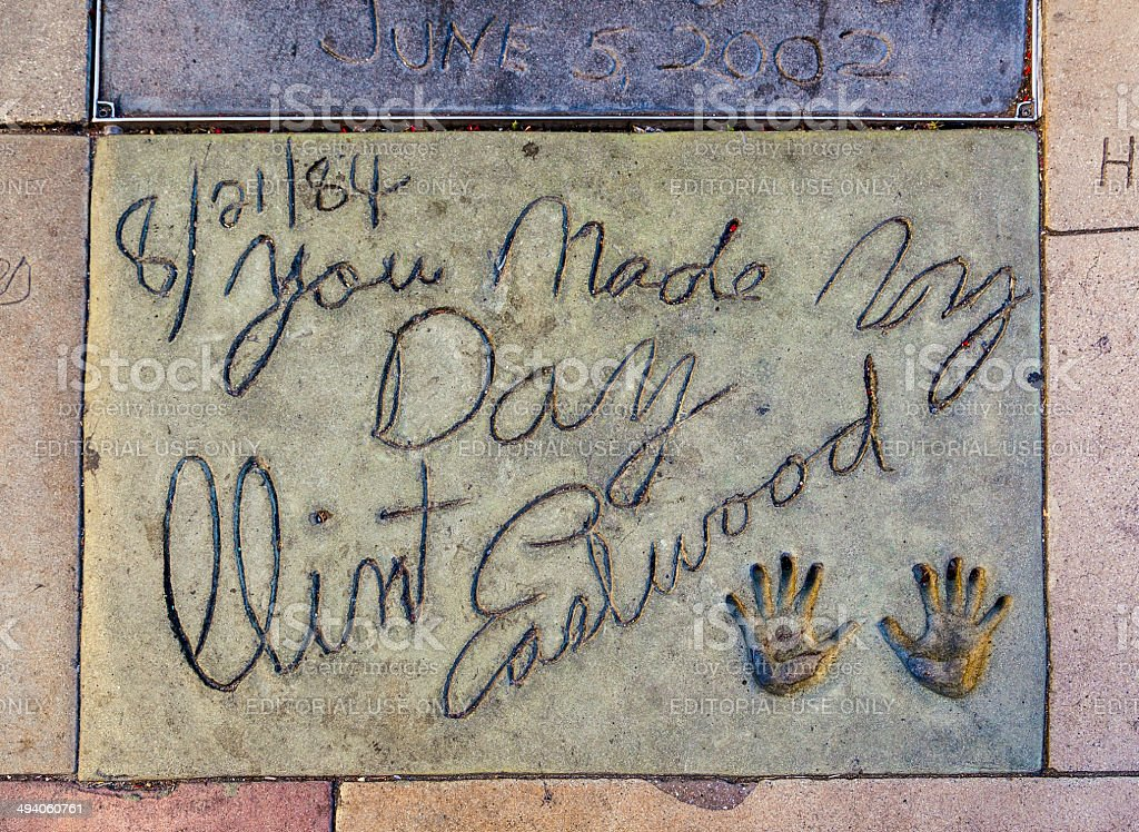 Clint Eastwoods handprints in Hollywood Boulevard in the concret stock photo