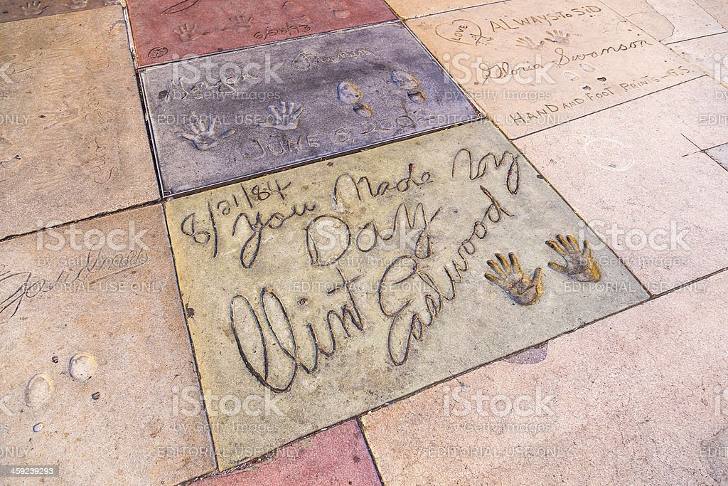 Clint Eastwoods handprints in Hollywood Boulevard stock photo