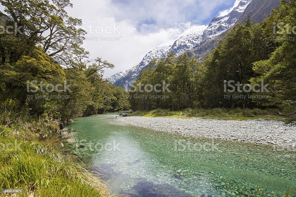 Clinton River, Milford Track, Fiordland National Park, Southland stock photo