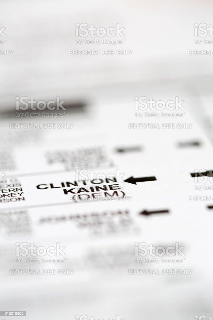 Clinton-Kaine Presidential Party on Voting Ballot stock photo