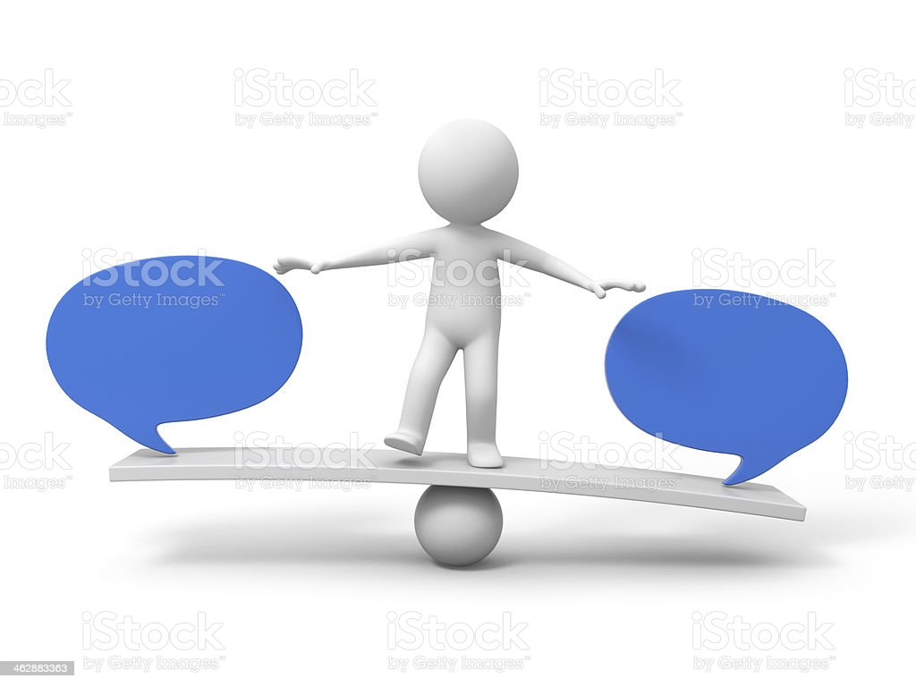 A clip art of a man balancing between two speech bubbles royalty-free stock photo