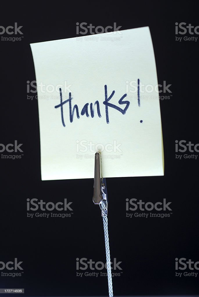 Clip with note pad-Thanks! royalty-free stock photo