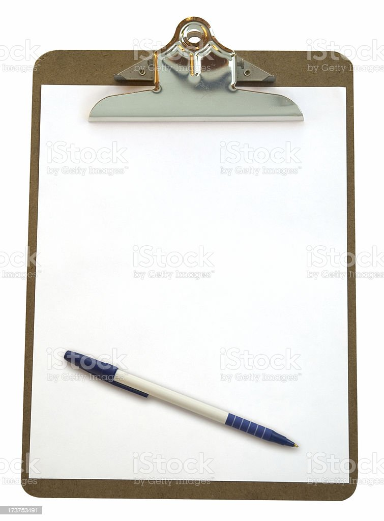 Clipboard & Pen (w/path) royalty-free stock photo
