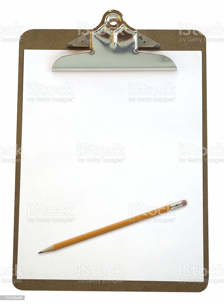 Clipboard & Pencil (w/path) royalty-free stock photo