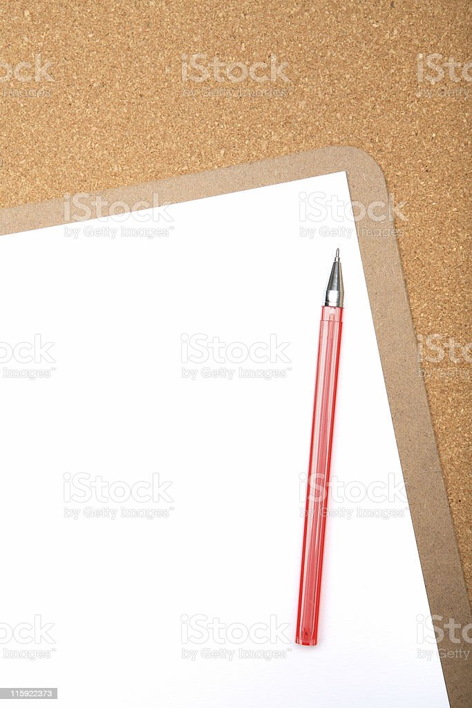 Clipboard and blank paper stock photo