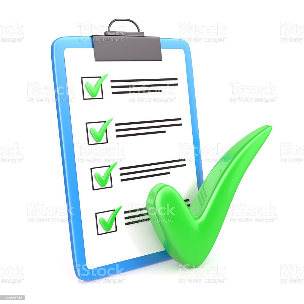 Clipboard and check mark stock photo