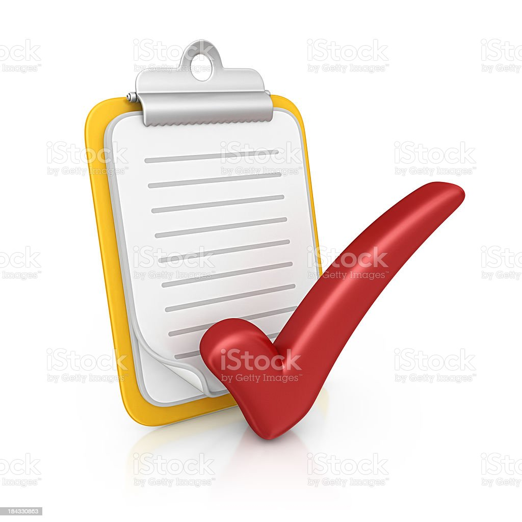 clipboard and checkmark royalty-free stock photo
