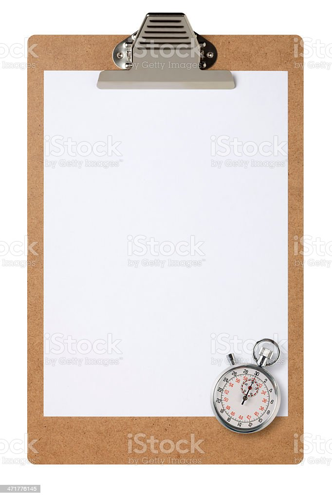 Clipboard And Chronometer With Clipping Path royalty-free stock photo