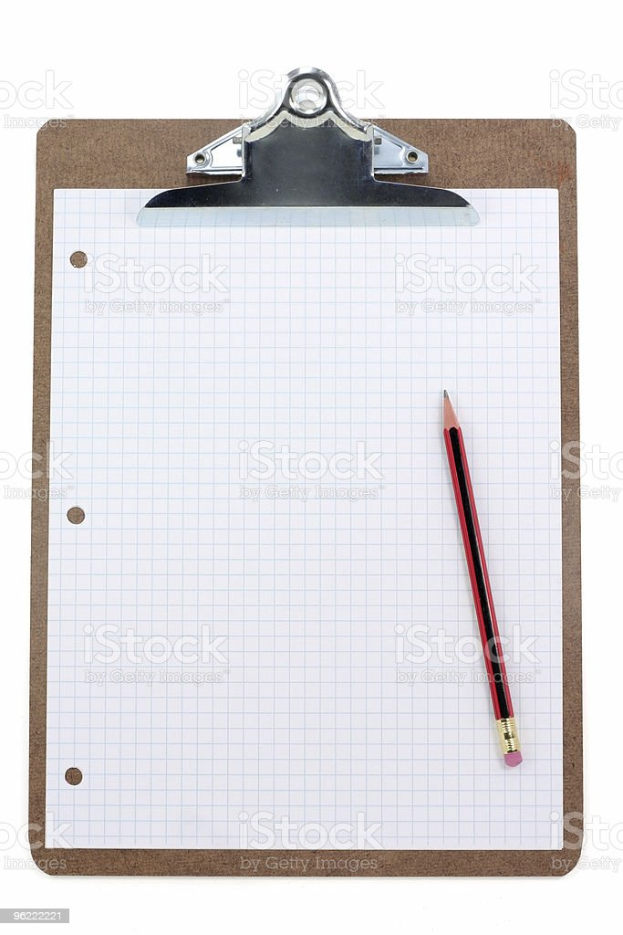 clipboard and grid  paper royalty-free stock photo