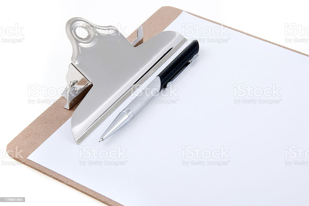 Clipboard and Ink Pen stock photo