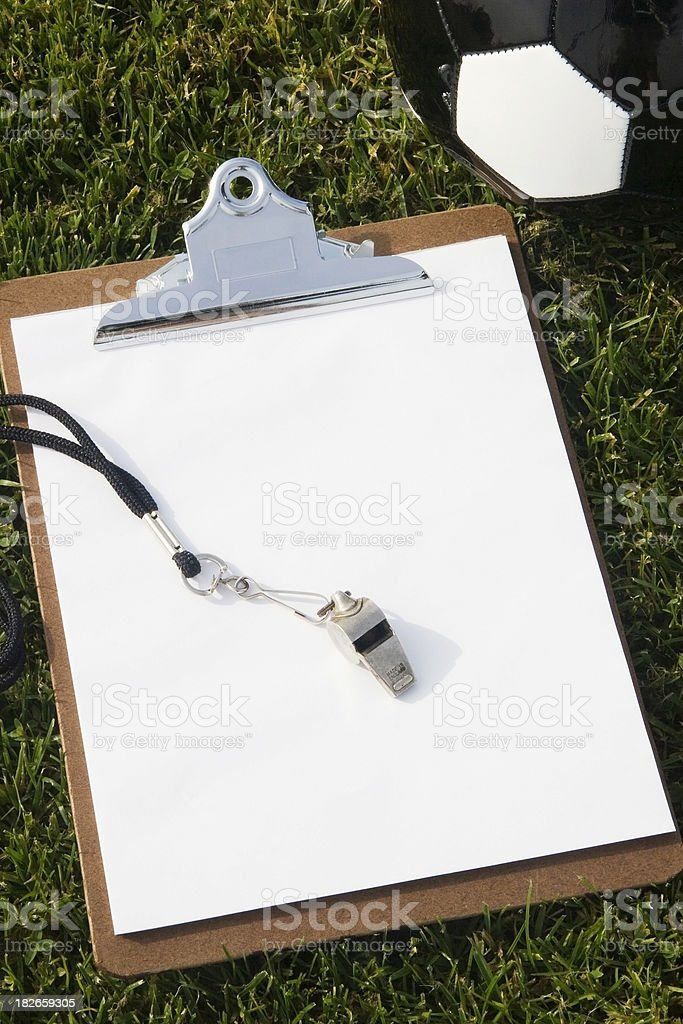 Clipboard and Soccer Ball royalty-free stock photo