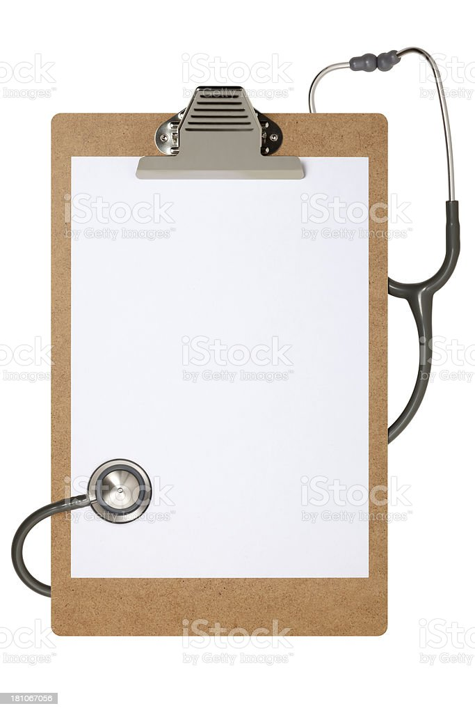 Clipboard And Stethoscope With Clipping Path royalty-free stock photo
