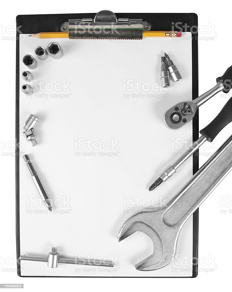 Clipboard and tools royalty-free stock photo