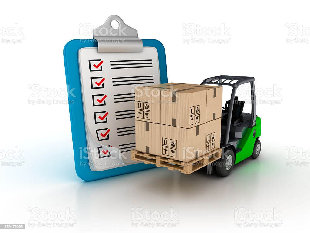 Clipboard Check List with Forklift stock photo