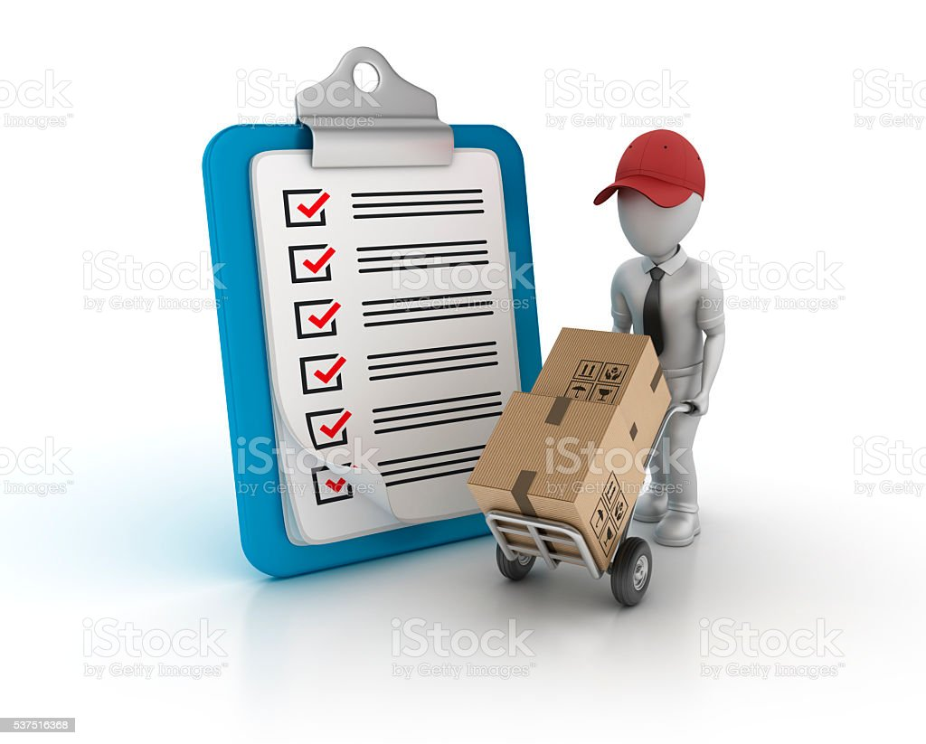 Clipboard Check List with Hand Truck and Character stock photo