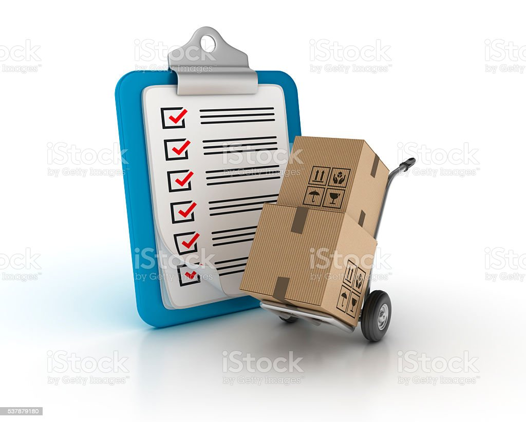 Clipboard Check List with Hand Truck stock photo
