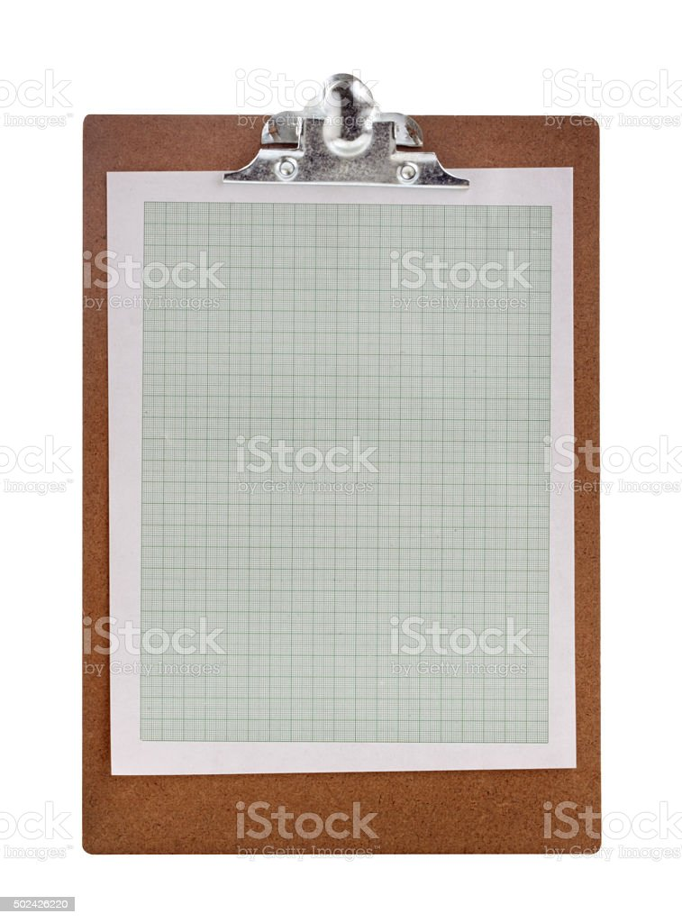 clipboard complete with green graph paper stock photo