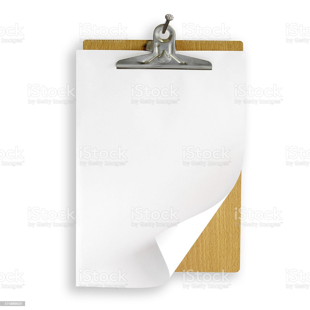 clipboard hanging on white wall stock photo