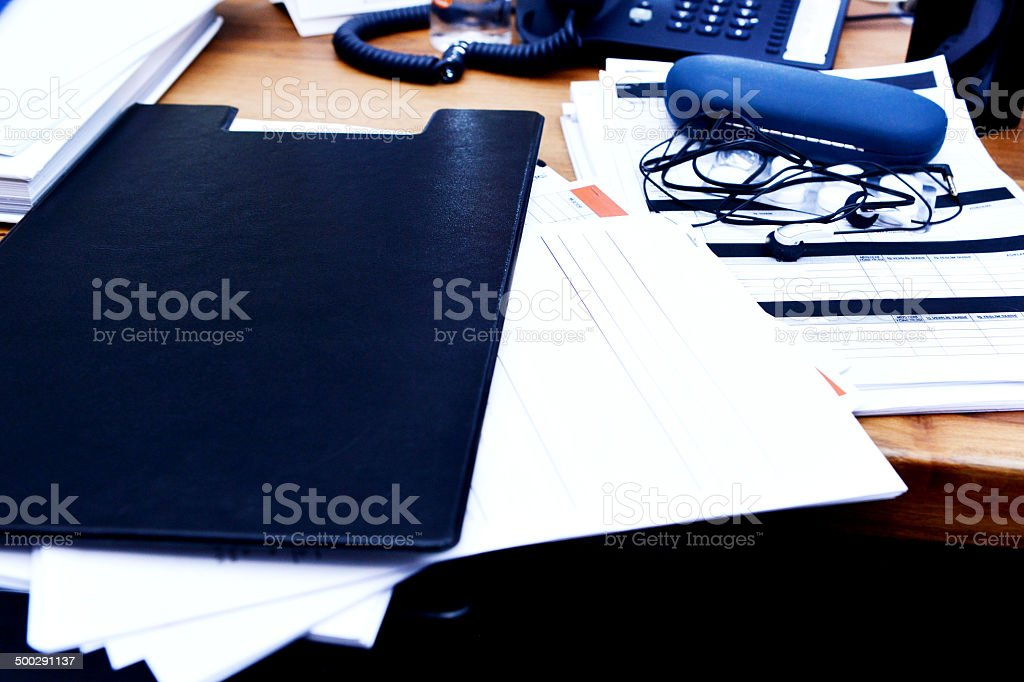 clipboard on desk stock photo