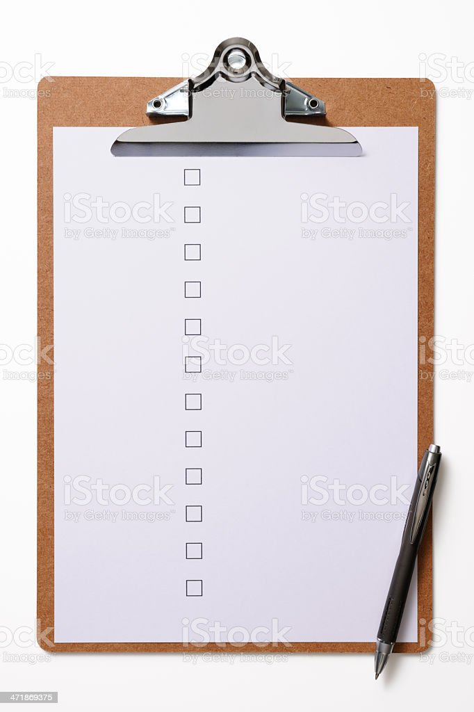 Clipboard with a blank checklist and pen on white background royalty-free stock photo