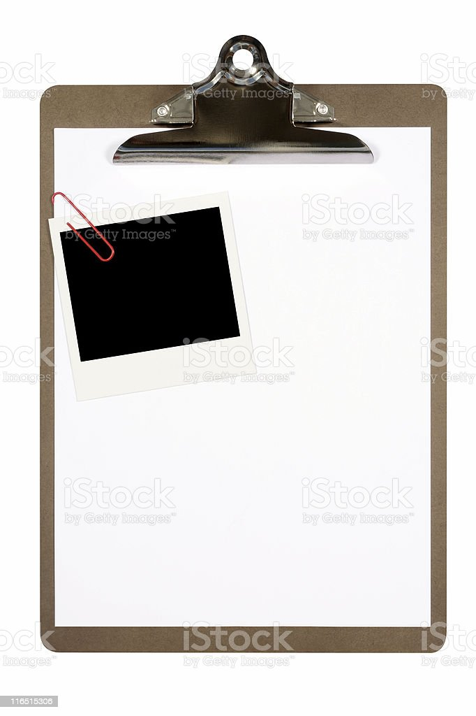 Clipboard with blank instant photo print royalty-free stock photo