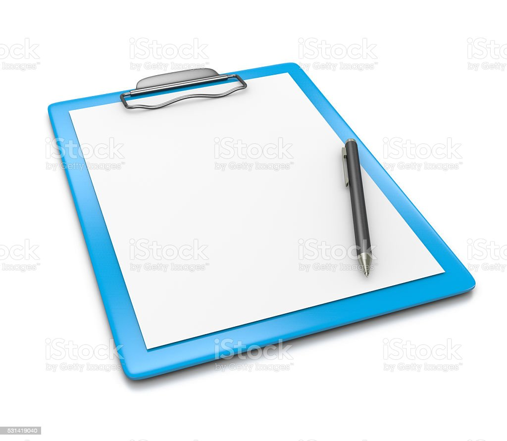 Clipboard with Blank Paper and Ball-point Pen stock photo