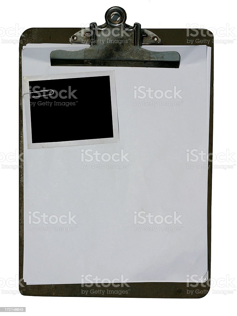 Clipboard with Blank Paper and Photo royalty-free stock photo