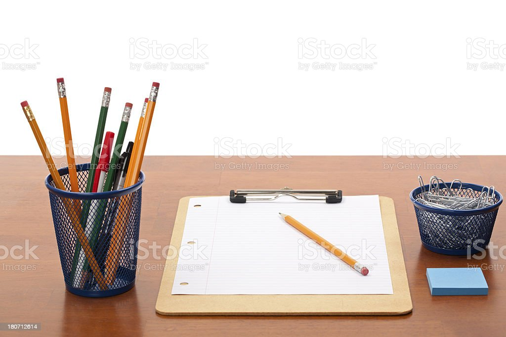 Clipboard with Blank Paper on Isolated Desktop royalty-free stock photo