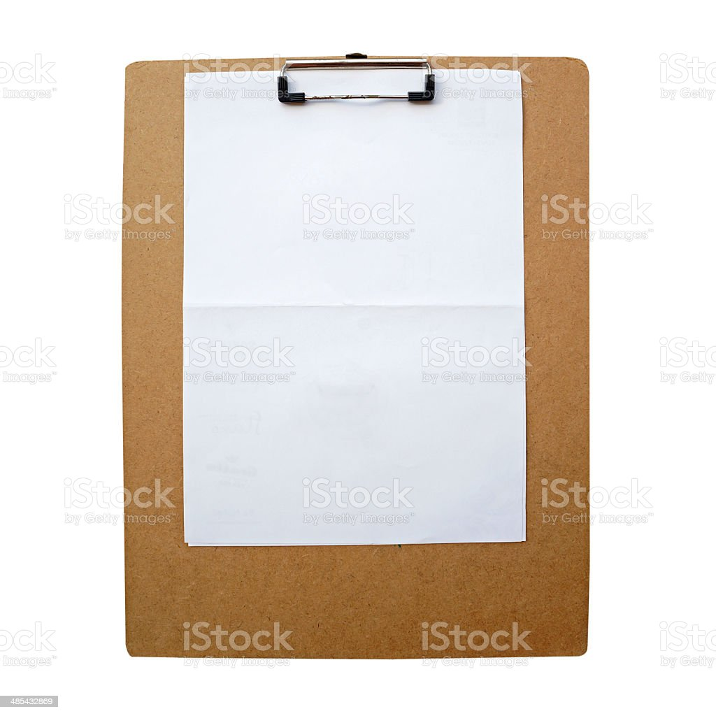 clipboard with blank paper royalty-free stock photo