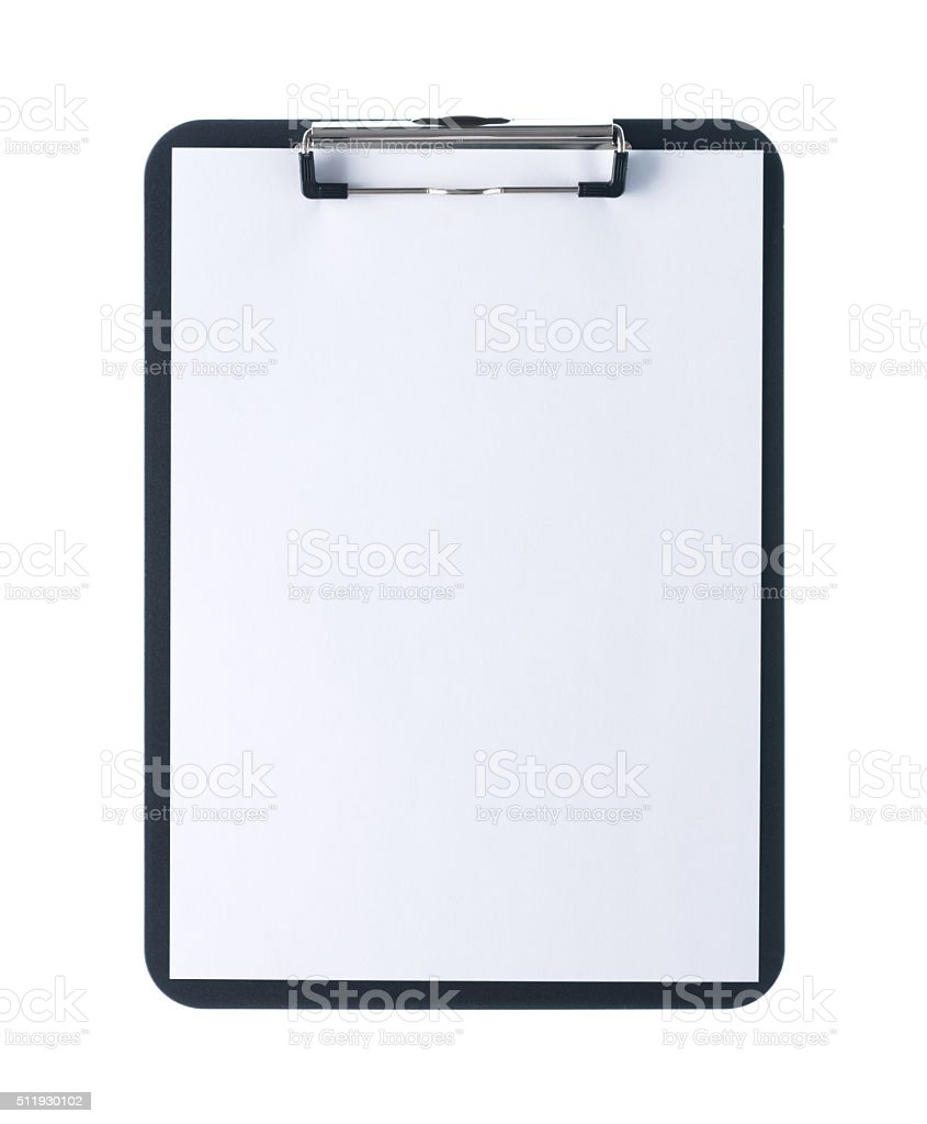 Clipboard with blank sheet stock photo