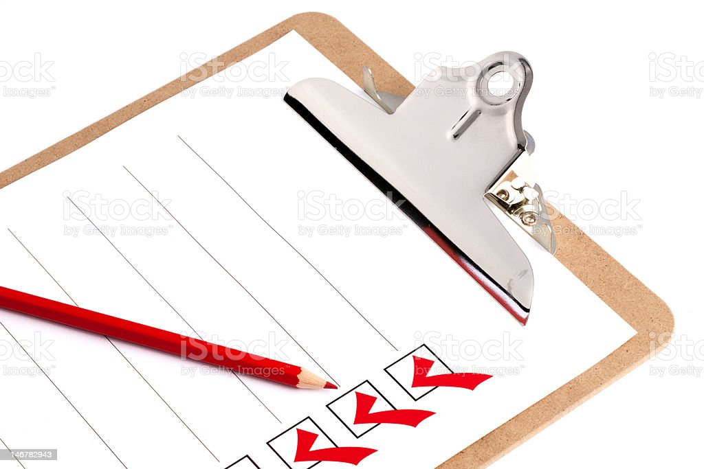 Clipboard With Checklist royalty-free stock photo
