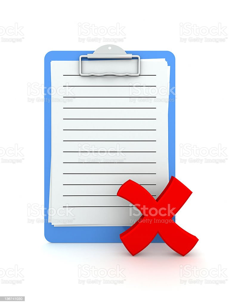 Clipboard with checkmark NO. stock photo