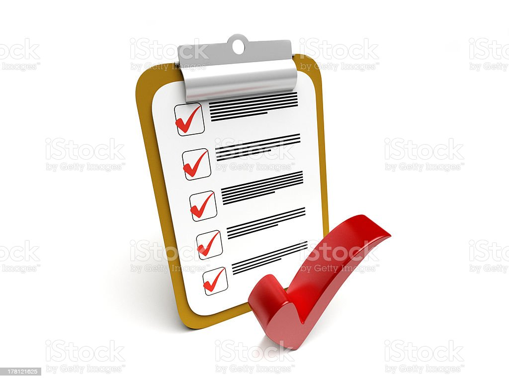Clipboard with checkmark royalty-free stock photo