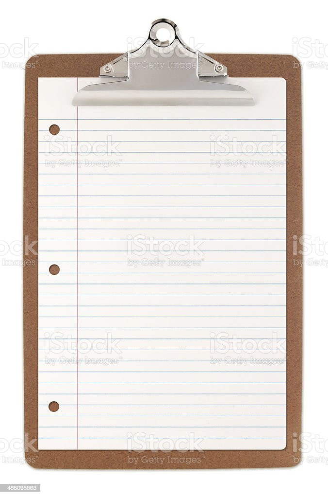Clipboard with lined paper - clipping path included royalty-free stock photo