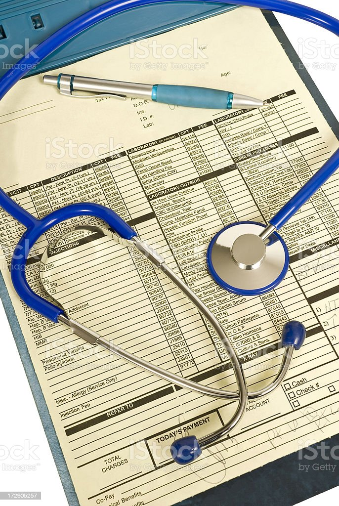 Clipboard With Patient Paperwork, Stethoscope, Pen royalty-free stock photo
