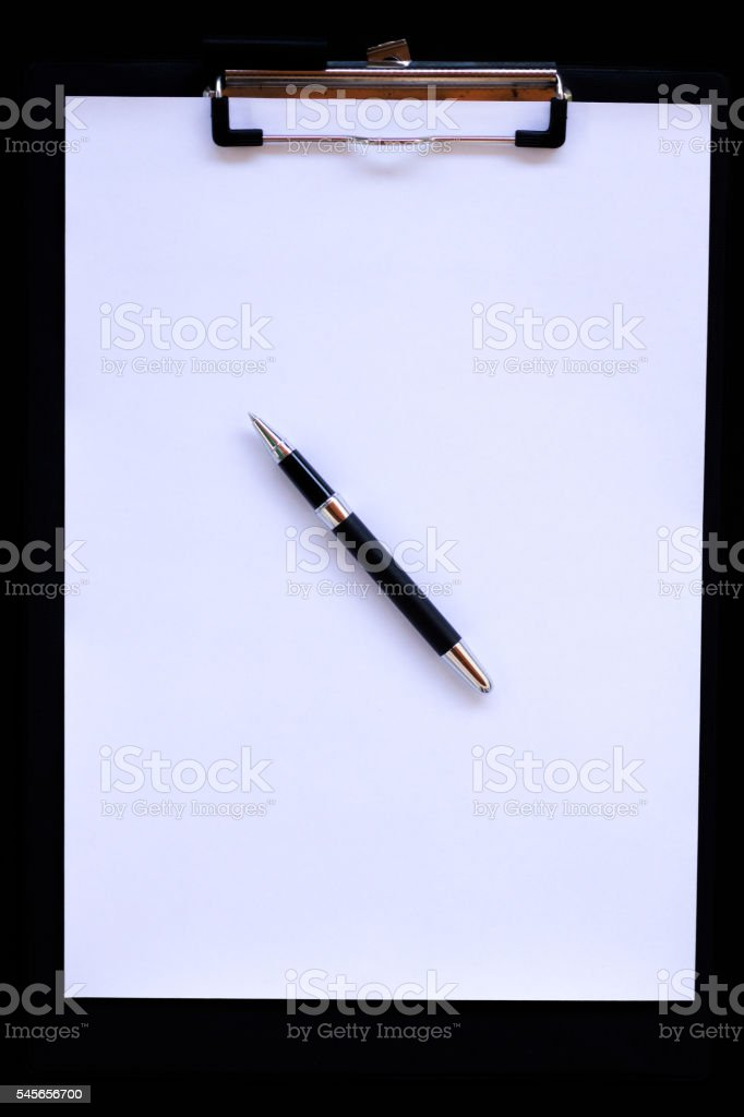 Clipboard with Pen stock photo