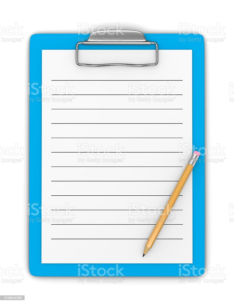 Clipboard with Pencil and Blank Ruled Paper stock photo