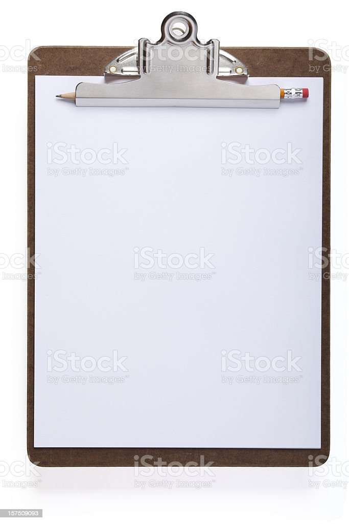 Clipboard with Pencil stock photo