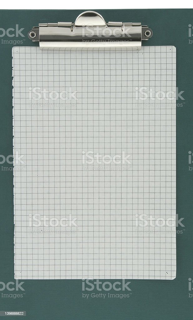 clipboard with piece of squared paper royalty-free stock photo