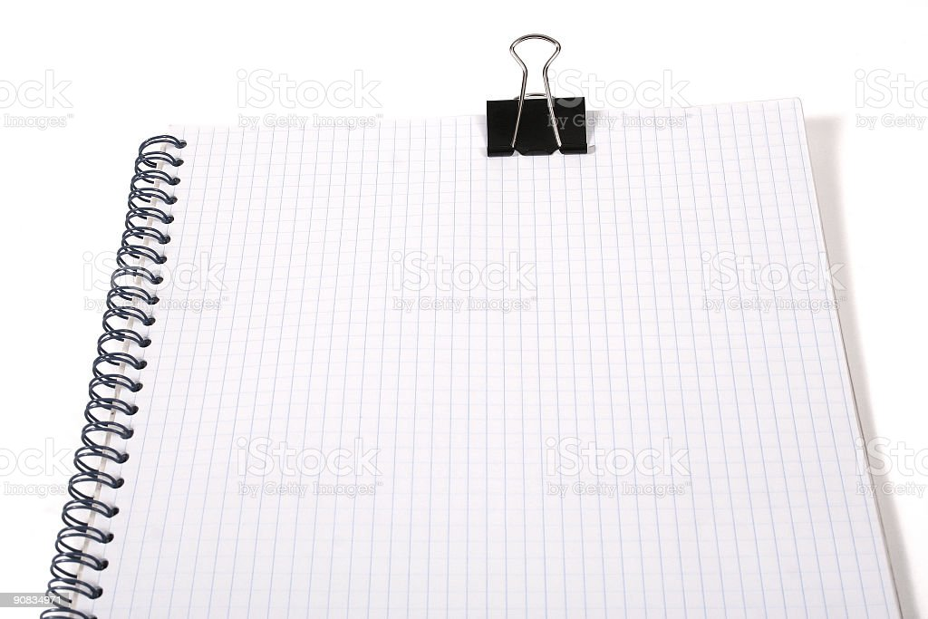 clipboard with squared paper on white stock photo