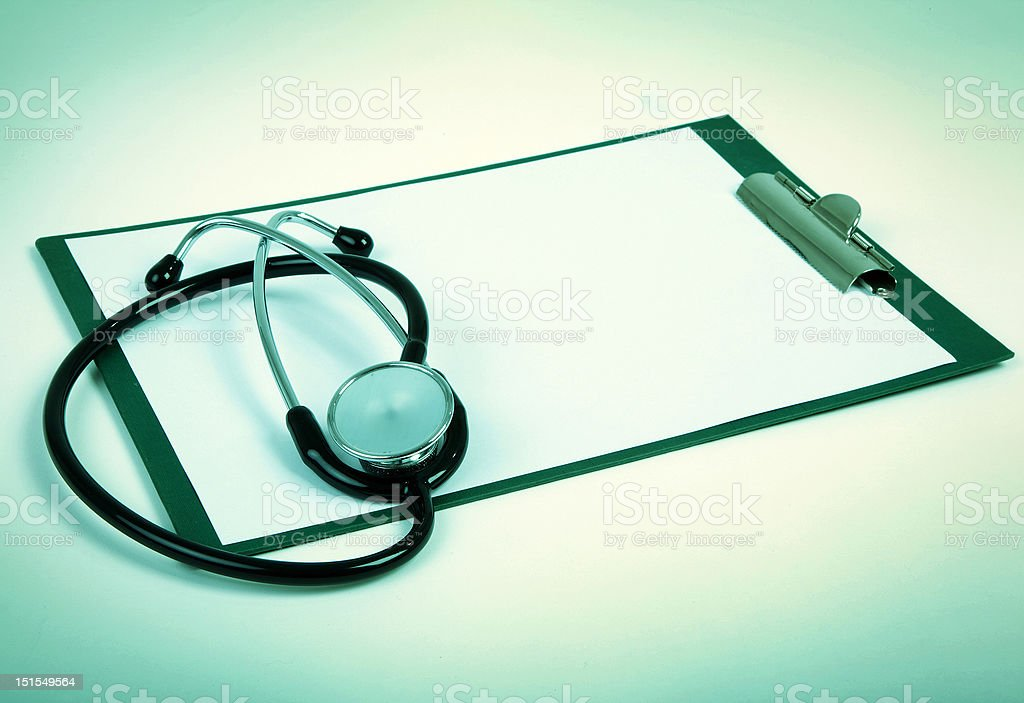 clipboard with stethoscope stock photo