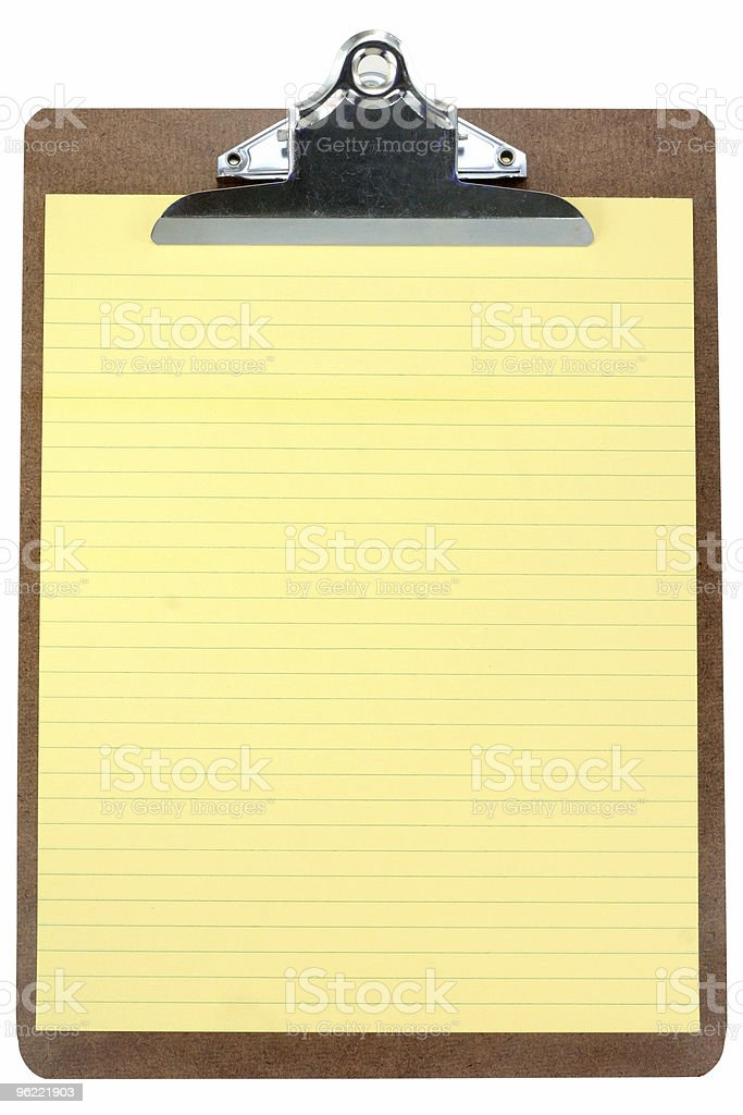clipboard with yellow notepaper stock photo