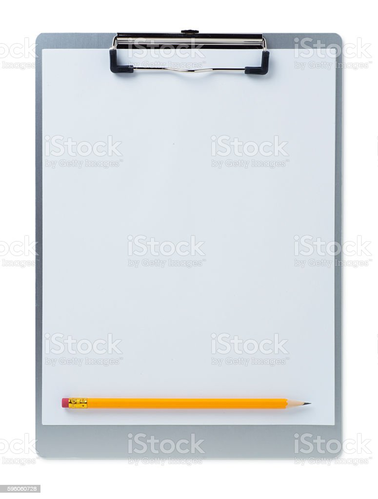 Clipboard with Yellow Pencil stock photo