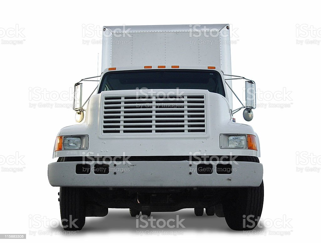 Clipped Box Truck Front royalty-free stock photo