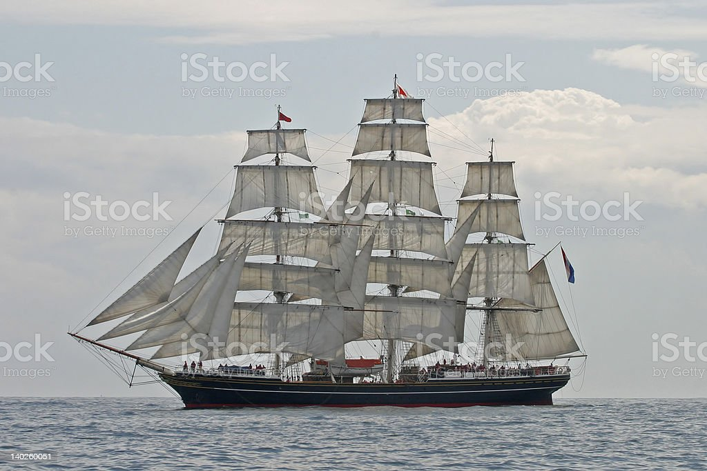 Clipper Ship Stad Amsterdam Under Sail stock photo
