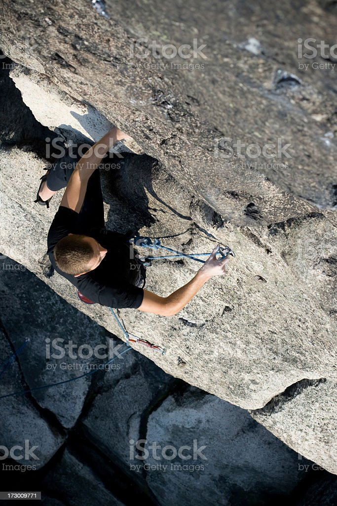 clipping a rope taken from above stock photo