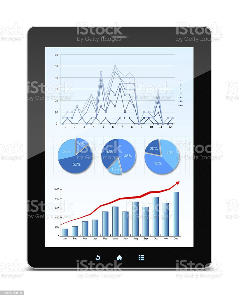 [Clipping path] Business growth chart in Digital Tablet PC isolated stock photo
