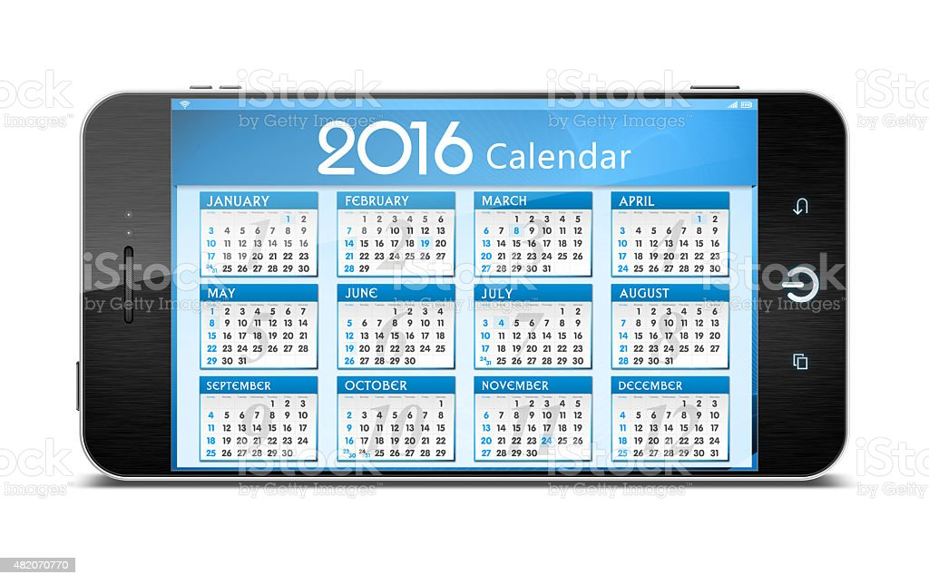 [Clipping path!] Calender of 2016 on Smart Phone isolated stock photo