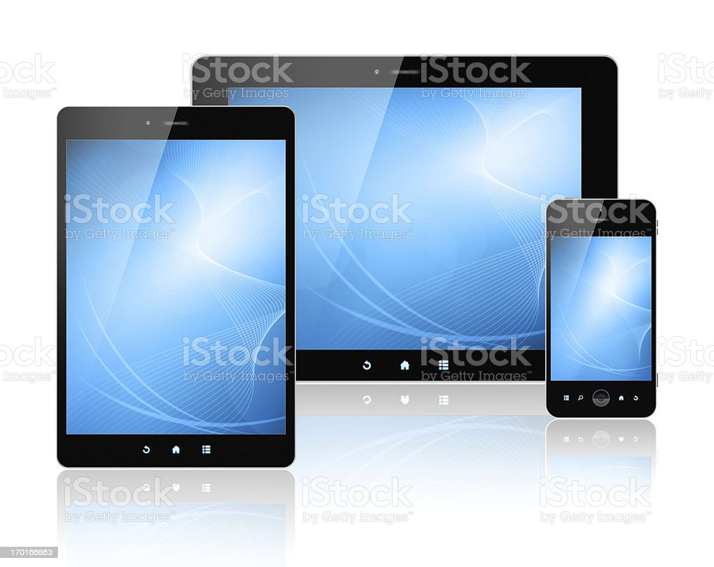 [Clipping path!] Digital Tablet PC and Smart Phone isolated royalty-free stock photo